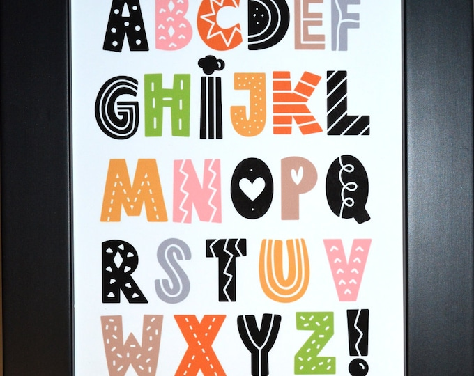 Scandinavian Alphabet, Wall Art, home decor, art prints, canvas and framed options, card option
