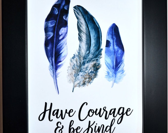 Courage Feathers Wall Art, Home Decor, Art Prints, Canvas And Framed Options, Card Option