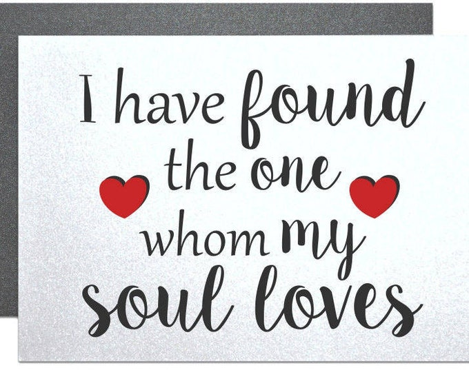 I have found the one whom my soul loves song of solomon card love note to groom from bride wedding day card engagement party