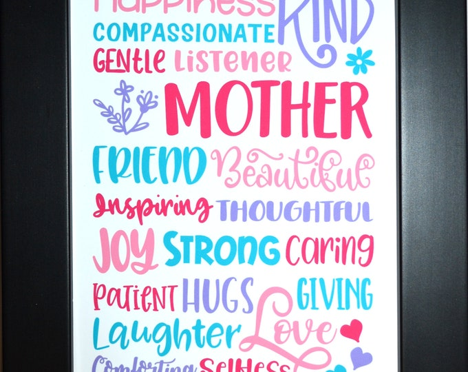Mother Sayings Wall Art, Home Decor, Art Prints, Canvas And Framed Options, Card Option