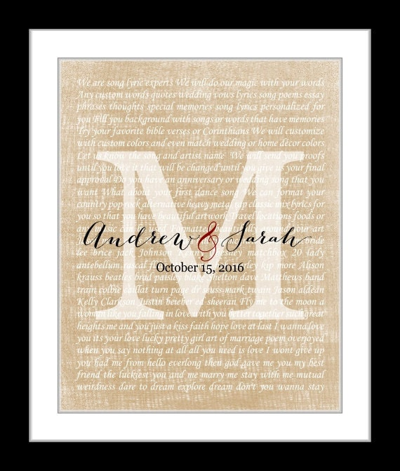Song Lyrics Gift, Canvas Frame Or Art Print Option