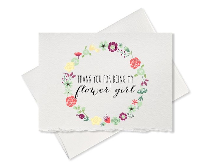 Thank you for being my flower girl thank you card from bride to flower girl wedding party wedding day card bridal party gift for flower girl