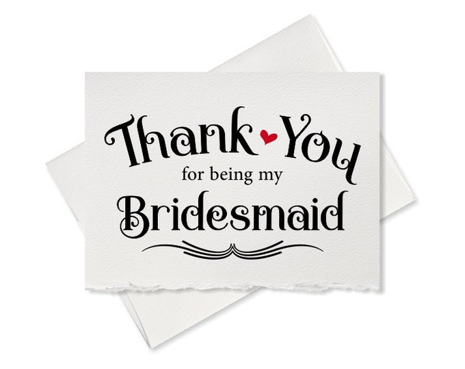 Rustic, bridesmaid thank you card, to bridesmaid, thank you for being my bridesmaid, gift, thank yous from bride, wedding party cards