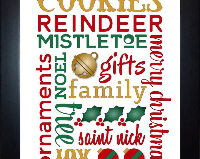 Christmas Subway Wall Art, home decor, art prints, canvas and framed options, card option