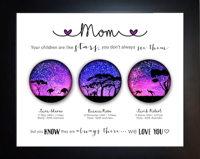 1 Gift For Mom, 3 Star Globe Locations, Perfect For Mom Birthday, Christmas, Mother's Day Present Idea