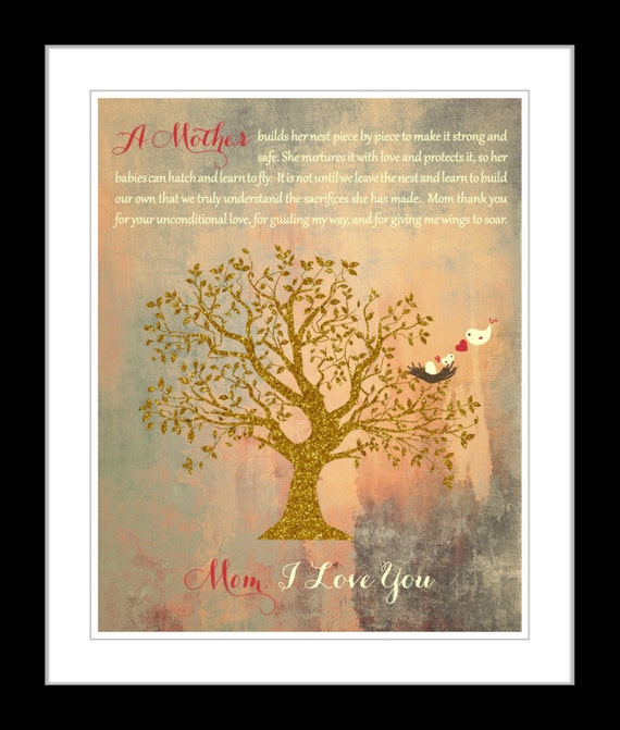 Cute Christmas Gift Ideas For Mom.Mom Christmas Present Birthday Gift Ideas Mother Mom Christmas Gift Wall Art Print From Son Daughter Children Vintage Tree Art