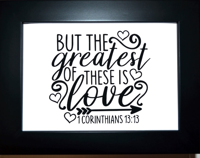 The Greatest Of These Is Love Quote Wall Art, home decor, art prints, canvas and framed options, card option