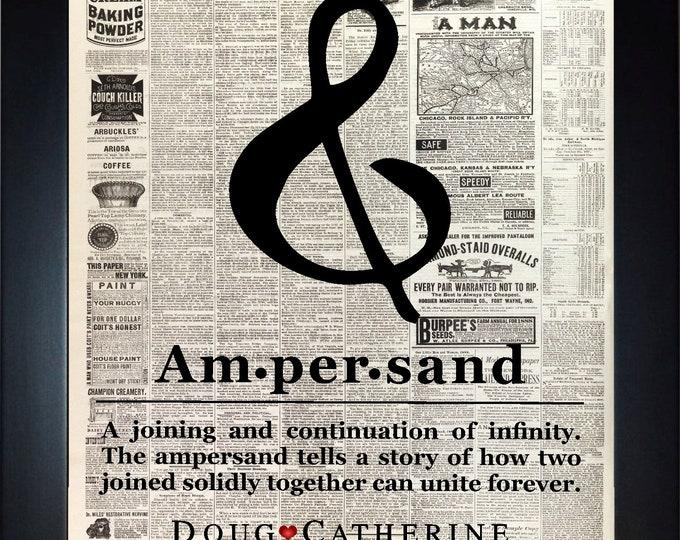 Custom Ampersand Wall Art, home decor, art prints, canvas and framed options, card option