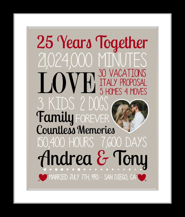 25th Wedding Anniversary Gift Ideas Your Husband: Anniversary Gift For Husband, 25th Wedding Anniversary