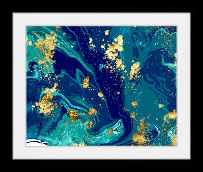 Abstract Green Blue Gold Swirls Wall Art Home Decor Art Prints