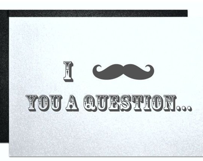 Funny wedding card asking will you be my groomsman best man engagement party gift note for best man ring bearer usher mustache you question