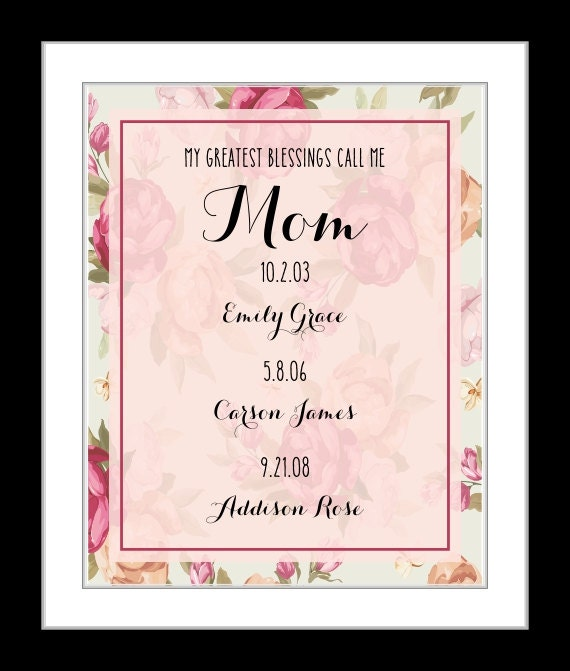 TimPrint Mothers Day Gift Custom Art Gift for Mom Personalized Birthday Print Gift from Kids Love You Forever Quote FRAMED Framed print Wall Art