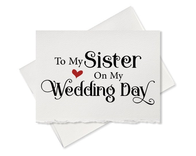 To my Sister on my wedding day, from bride to sister wedding day card, from bride to bridesmaid, thank you cards for wedding party rustic