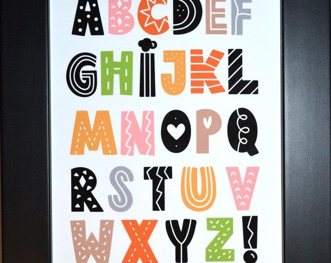 Scandinavian Alphabet Wall Art, home decor, art prints, canvas and framed options, card option