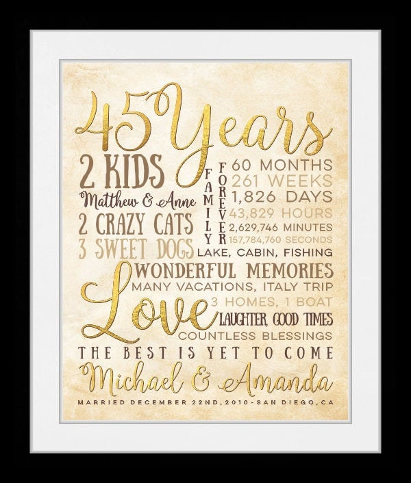 45 Wedding Anniversary Gift For Parents: Anniversary Gift For Parents, 45 Year Anniversary, 45th