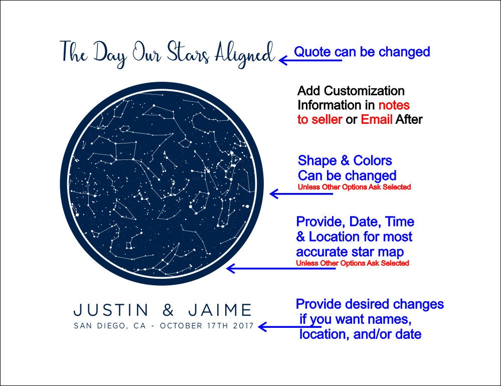 I Night Sky Map Silhouette, Constellation Star Chart State