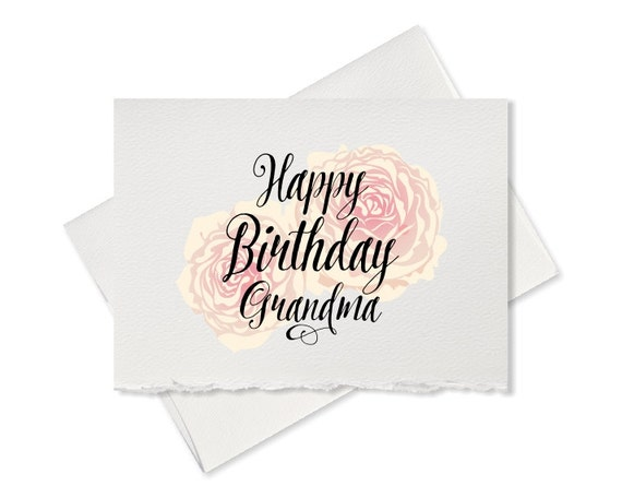 Happy Birthday Card For Grandma Pretty Rose Greeting