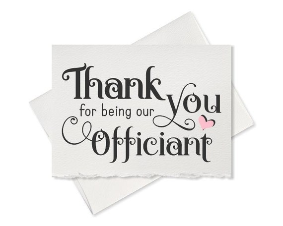 Wedding Card To Your Officiant Thank You For Marrying Us Etsy