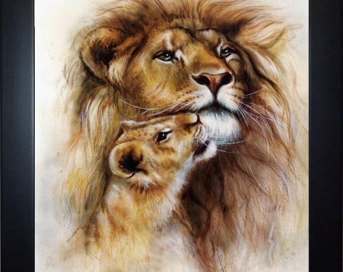 Lion And Cub Wall Art, home decor, art prints, canvas and framed options, card option