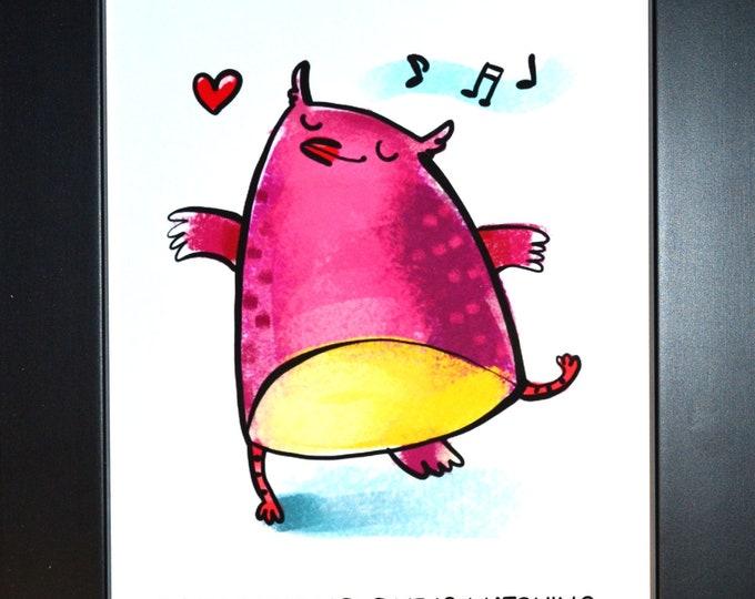 Dance Cat Wall Art, Home Decor, Art Prints, Canvas And Framed Options, Card Option