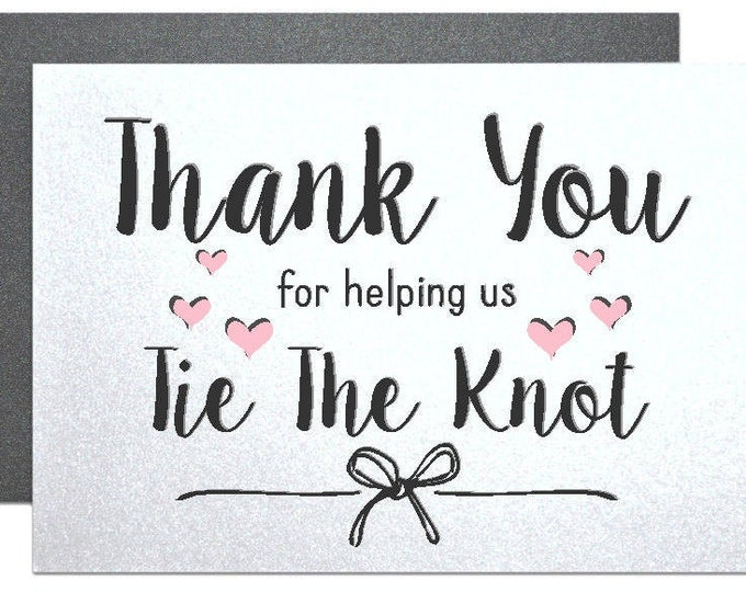 Thank you cards for wedding party officiant, thank you for helping us tie the knot bridesmaid groomsman maid of honor best man