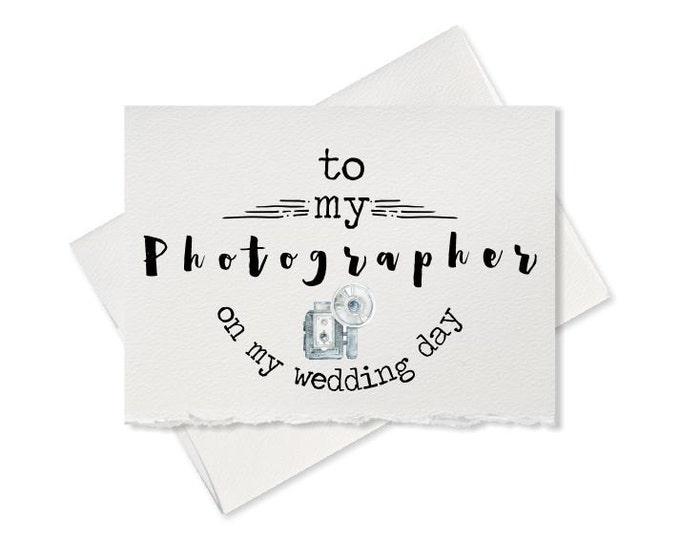 Thank you card for wedding photographer, wedding vendor, thank you for capturing our wedding, to wedding photographer