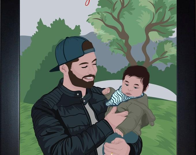 Custom Father Son Art, Dad Christmas Gift, For Dad, Unique Gift For Dad From Son For Christmas Present, Dad Birthday Gift, Nursery Art