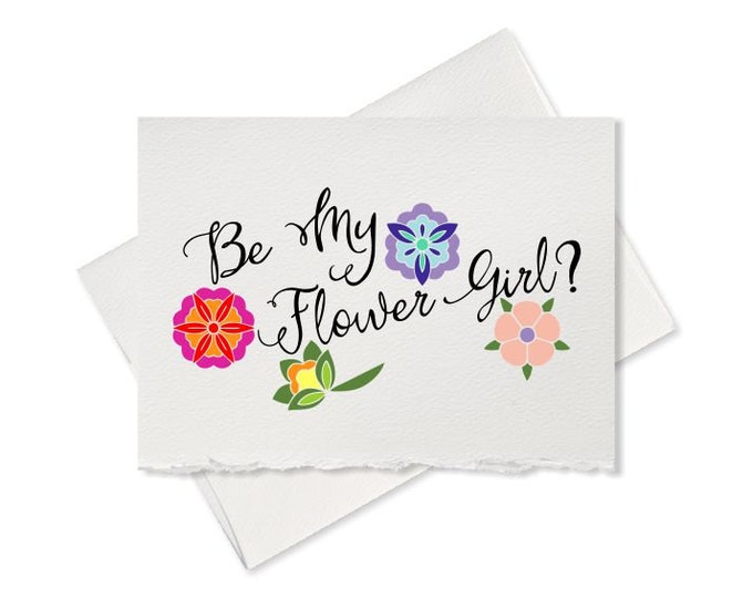 Rustic style will you be my flower girl gift, note card, rustic wedding, from bride engagement bridesmaid maid of honor wedding party cards