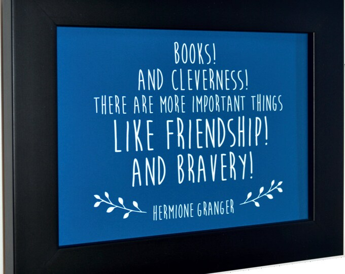 Books And Cleverness Quote Wall Art, home decor, art prints, canvas and framed options, card option