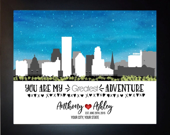 Skyline Anniversary Gifts For  Boyfriend, Girlfriend, Couple, Choose City, Names, Quote, City Anniversary Gift, Him Her, Husband, Wife