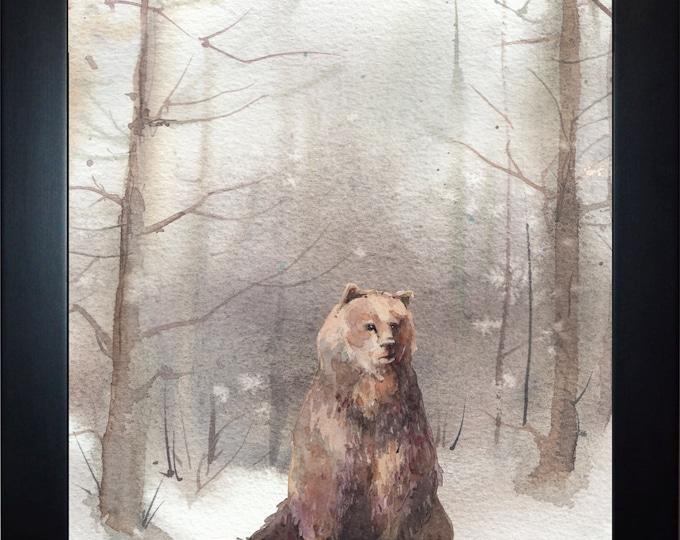 Winter Bear Wall Art, home decor, art prints, canvas and framed options, card option