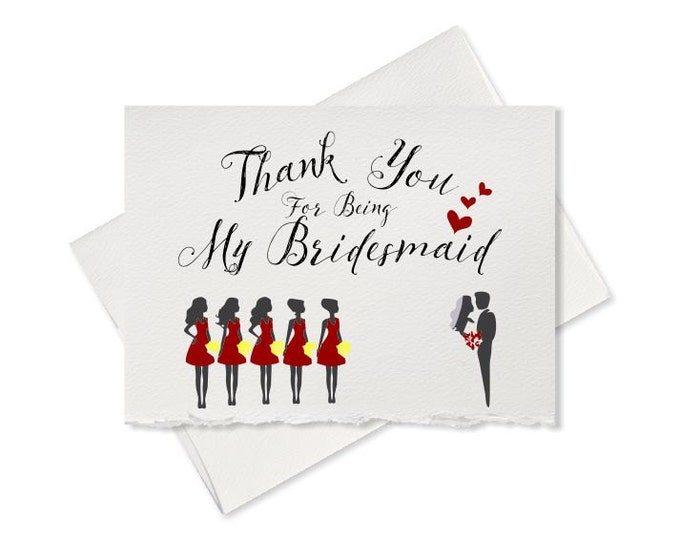 Thank you for being my bridesmaid thank you card from bride to bridesmaid wedding party wedding day card to go with gift for bridesmaid