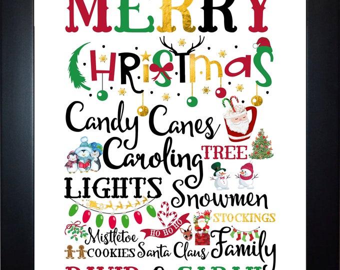 Custom Christmas Wall Art, home decor, art prints, canvas and framed options, card option