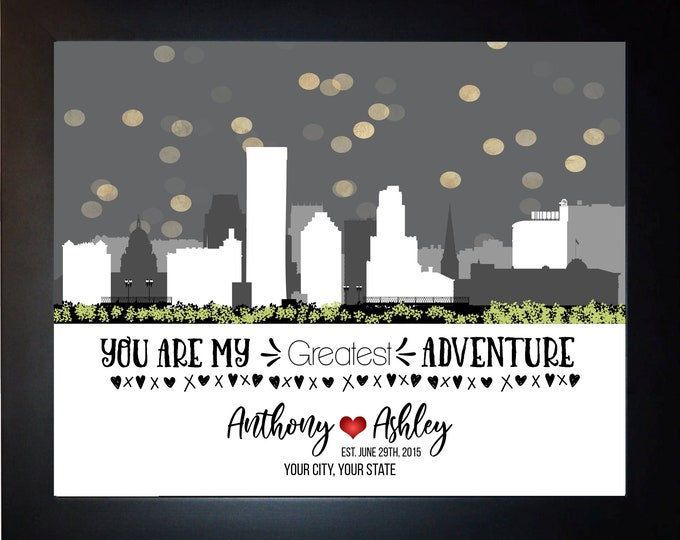 Skyline  Anniversary Gifst, Him Her, Husband, Wife, Choose City, Names, Quote, Valentines Day Gift For Couple, Boyfriend, Girlfriend,