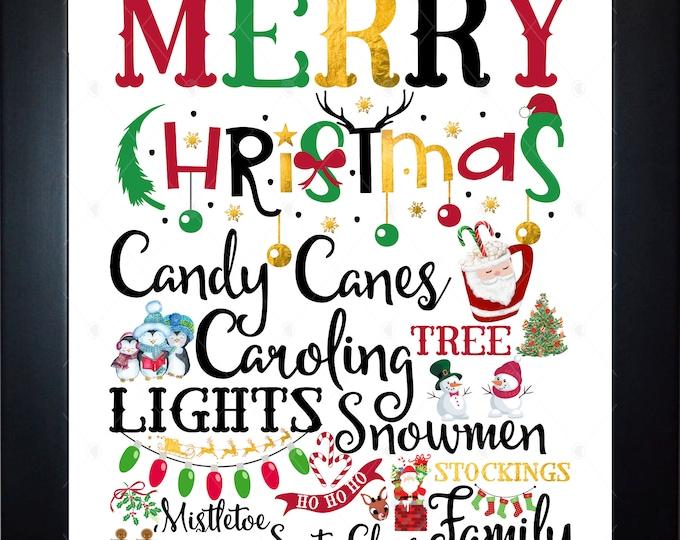 Merry Christmas List Wall Art, home decor, art prints, canvas and framed options, card option