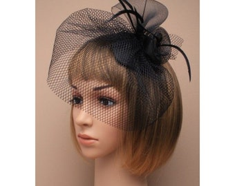 6506b436735 Black Net And Feathers Fascinator