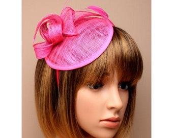 Fuchsia Pink Flower And Feathers Fascinator  db089c3b4d2