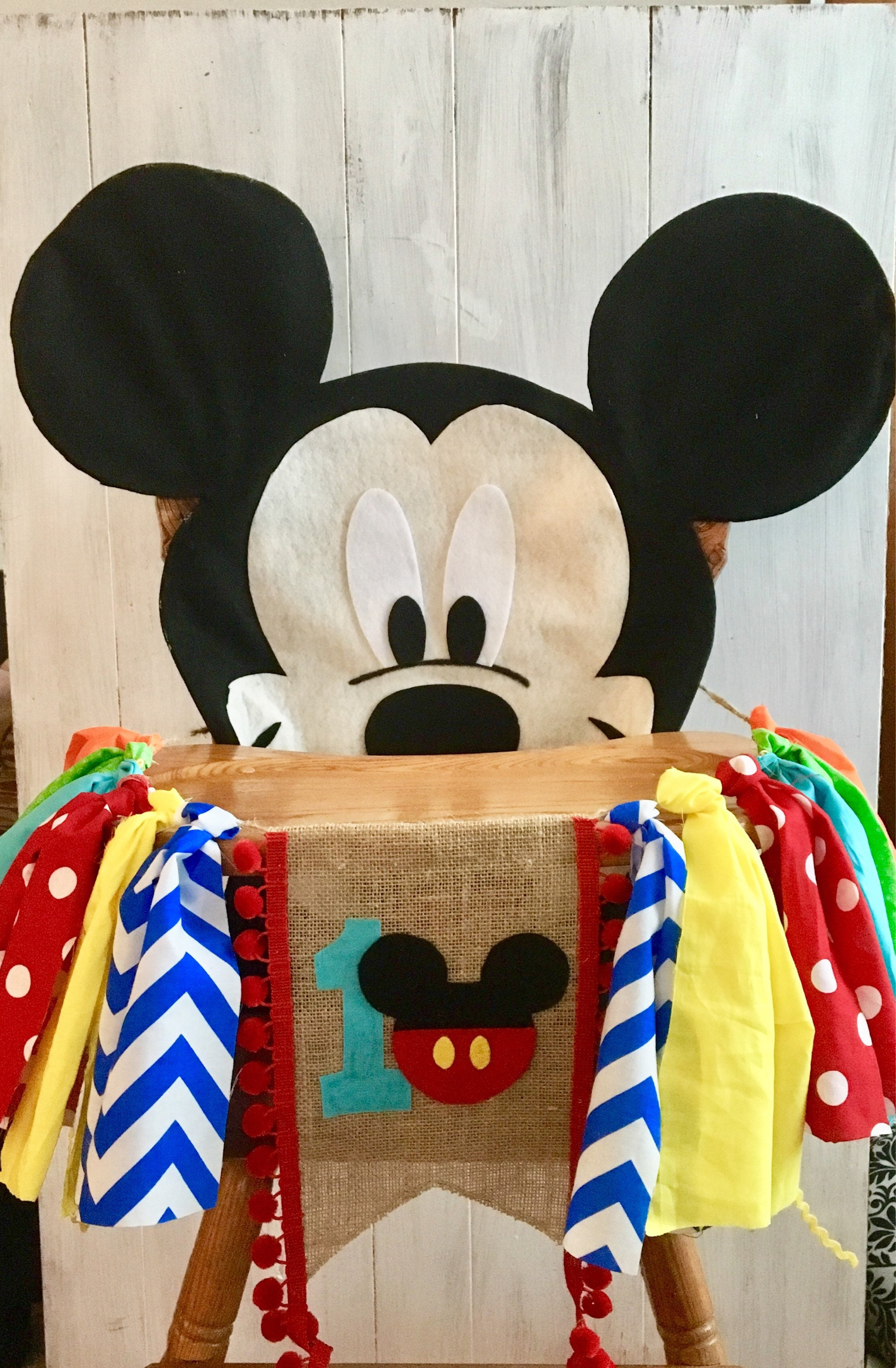 Mickey Mouse Birthday High Chair Banner Cover Boy