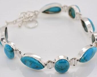 Natural Blue Turquoise Sterling Silver Bracelet Adjustable Rare Natural Untreated Turquoise Gemstone Dreamy Sky Blue Silver Bracelet#RA1541