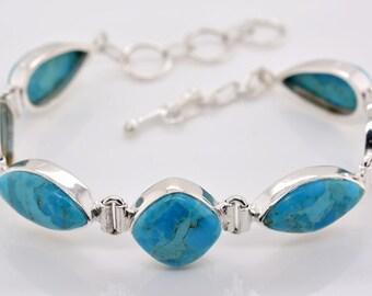 Blue Turquoise Sterling Silver Handmade Bracelet Adjustable Rare Natural Untreated Turquoise Gemstone Dreamy Sky Blue Silver Bracelet#RA1614