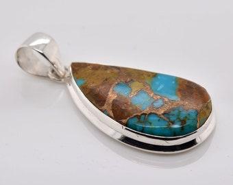 Bolder Bronze Copper Turquoise Pendant Copper Turquoise Silver Pendant Designer Pendant Jewelry 925 Sterling Silver Handmade Pendant#RA1597