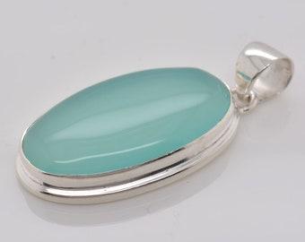 Chalcedony Pendant Chalcedony Silver Pendant Designer Pendant Jewelry 925 Sterling Silver Handmade Pendant Blue Chalcedony Pendant#RA1561