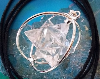 Merkaba pendant etsy crystal quartz spinning merkaba pendant in stainless steel cage sacred geometry merkaba necklace with chain aloadofball Image collections