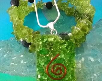 Pewter peridot emf protection Green Heart Chakra Crescent Moon Orgone EMF Pendant opal tourmaline