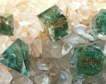 5 Piece ORGONE GREEN AVENTURINE Platonic Solids Crystal Set with Pouch, Sacred Geometry, Reiki Set