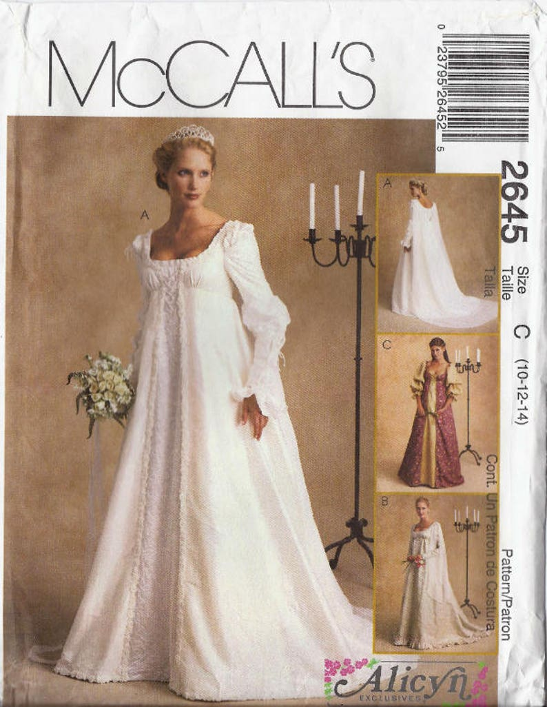 Renaissance Wedding Dress.Renaissance Wedding Gowns Pattern Low Scoop Neckline Detachable Train In Misses Sizes 10 12 14 Mccalls 2645 Uncut Ff 2000 K1194