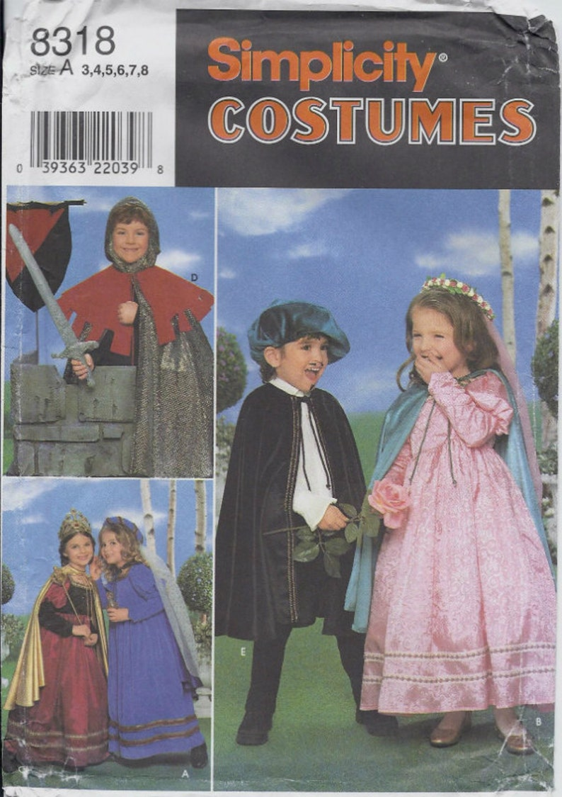 Medieval Knight, Prince, Princess and Queen costume patterns in Children's  sizes 3-8 Simplicity 8318|5407 UNCUT & FF (2003/1998) K0617