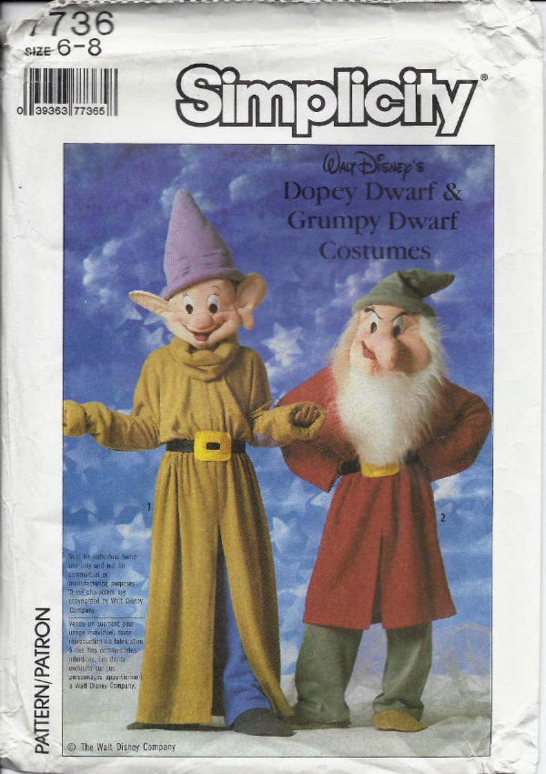 Dopey and Grumpy Dwarf costume patterns from Snow White in Adult or  Children's sizes Simplicity 7736 UNCUT & FF (1986) K1144