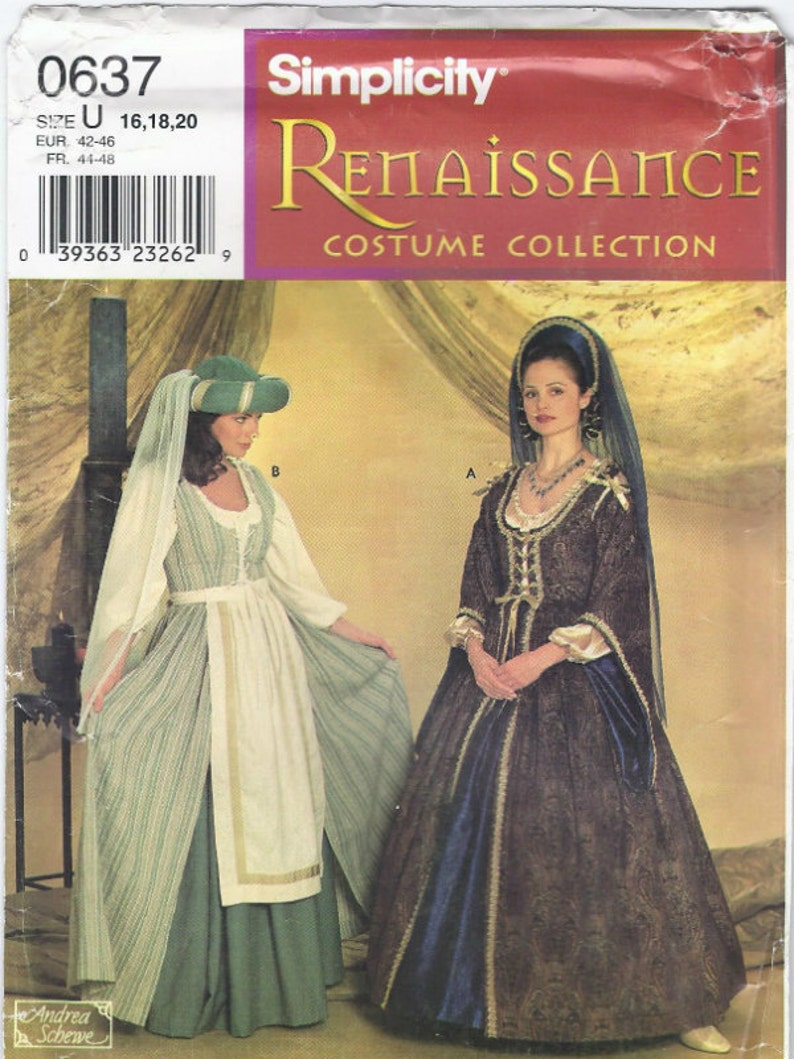 Medieval royal gown & peasant dress costume patterns in Misses' sizes from  Renaissance Costume Collection Simplicity 7756 UNCUT (1997) K0336