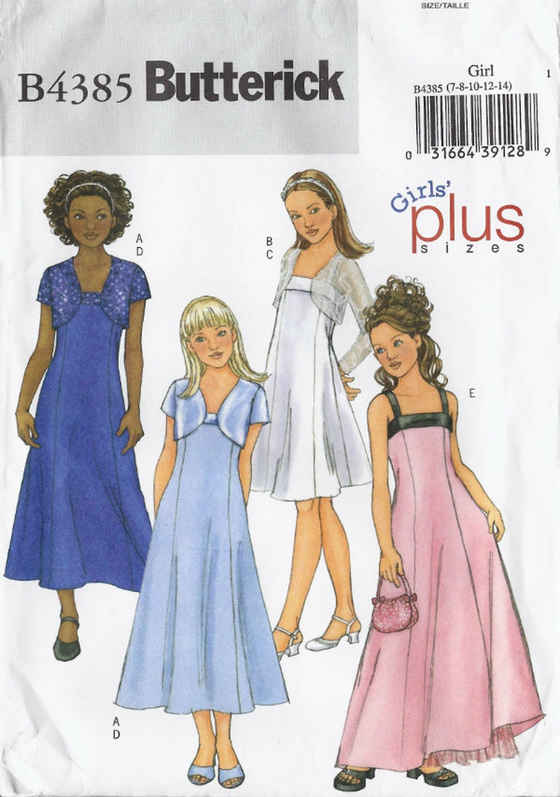 Special occasion dress pattern with three length options and bolero jacket  girls\' sizes 7-14 UNCUT & FF Butterick 4385 (2004) K0748